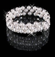 pulseira de prata linha venda por atacado-Barato 3 Row Pérolas Stretch Bangle Prata Strass Crianças Prom Homecoming Festa de Casamento À Noite Jóias Pulseira Acessórios De Noiva 15013
