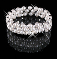 Wholesale Bangle Stones - Cheap 3 Row Pearls Stretch Bangle Silver Rhinestones Kids Prom Homecoming Wedding Party Evening Jewelry Bracelet Bridal Accessories 15013