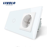 Wholesale Light Switches Wall Sockets - Livolo EU standard Touch Switch, White Crystal Glass Panel, 110~250V 16A Wall Socket with Light Switch, VL-C701-11 VL-C7C1EU-11