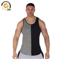 Wholesale Tank Tops Branded For Men - Wholesale-0926 Brand Long Tank Tops Men Extended Gym Vest Stripe Tank Irregular Hem Stringer Muscle Tank Tops for Men