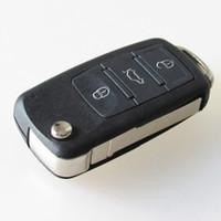 volkswagen düğmesi anahtar kutusu toptan satış-FLIP Katlanır Uzaktan Anahtar Shell Kılıf Volkswagen VW Touareg 3 Düğmeler Için anahtar boş kapak
