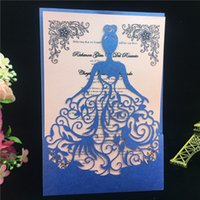 Wholesale Wedding Decorations Paper Laser - Wholesale- Blue 50pcs Free Printable Laser Cut Wedding Invitations Card Christmas Card Girl Birthday Party Decoration Greeting Card Paper