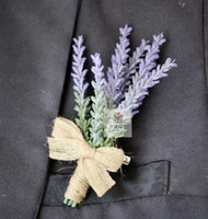 Wholesale best flower suits for sale - Group buy Top Quality Set Hand Made Lavender Flower Party Prom Man Corsage Wedding Best Man Groom Boutonniere Man Suit Pin Brooch