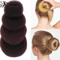 Wholesale Hair Donut Sizes - HOT 4 SIZE Hair Donut Maker Magic Foam Sponge Hair Styling Tool Princess Hairstyle Hair Accessories Elacstic Hair Band 50pcs