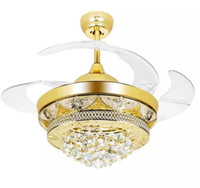 Candelabros Del Techo Del Dormitorio Baratos-Modern Luxury LED Crystal Ceiling Fans Gold Light para sala de estar Dormitorio 42 pulgadas Invisible Blades Fan de techo lámpara Chandeliers Lighting MYY