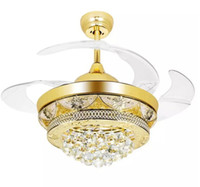 Wholesale Steel Lamp Bedroom - Modern Luxury LED Crystal Ceiling Fans Light Gold for Living Room Bedroom 42 Inch Invisible Blades Ceiling Fan Lamp Chandeliers Lighting MYY