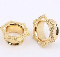 Wholesale Triangle Ear Plugs - hot sale Allergy-Free Copp gold Triangle copper flower plugs tunnels 6mm 8mm 10mm 12mm 14mm 16mm Ear expansion earring piercing body jewelry