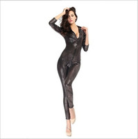 Wholesale Cosplay Gold Catsuit - 2017 Adult Snakeskin Grain Jumpsuit Tight Zipper Uniform Temptation Club DS Suit Sexy Cosplay Locomotive Girl Nightclub Pole Dancing Clothes