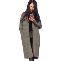 Wholesale Trench Coat Femme - Christmas Trench Coat For Women Pocket Knitted Women Long Cardigans 2016 Oversized Cardigans Winter Thickness Poncho Coat Femme