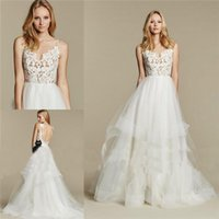 Wholesale Simple Sexy Dresses For Sale - Hayley Paige Dreamy 2016 Ball Bridal Gowns for Boho Chic Bohemian Style Brides Wear Sale Cheap Sheer Strappy Backless Tiers Wedding Dresses