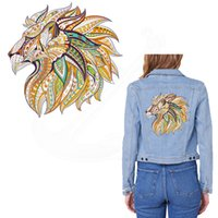 Wholesale Jacket Shopping - 2017 NEW patch for clothing lion 25*25cm T-shirt Hoodies and denim jacket thermal transfer Printed A-level Washable Sticker free shopping