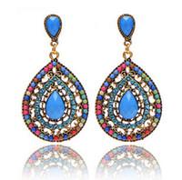 Wholesale vintage beaded chandelier - 2016 Vintage Bohemia Style Diamond Drop Earring Resin Heart Beaded Earrings