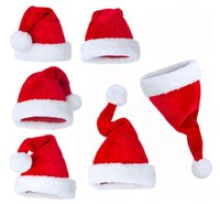 Wholesale chiristmas decoration - High Quality Fluffy thickening party Christmas Ornaments Adult Ordinary Christmas hats Santa hats Children cap for Chiristmas party Props