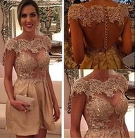 Wholesale Dress Min - Real Picture 2016 Cheap Short Min Cocktail Party Dresses for Girls Women Vintage A Line Bateau Cap Sleeves with Lace Appliques and Beads