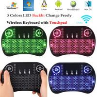 teclado riu mini i8 bluetooth venda por atacado-Rii I8 Inteligente Fly Air Mouse Luz de Fundo Remoto 2.4 GHz Teclado Sem Fio Bluetooth Touchpad Controle Remoto Para S905X S912 TV Android Box X96 T95