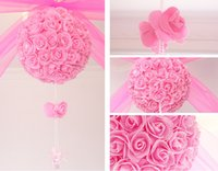Wholesale Decorated Wedding Baskets - Free shipping Wedding silk Pomander Kissing Ball flower ball decorate flower artificial flower for wedding garden market decoration 20009