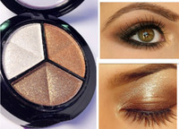 Wholesale neutral eyes - Cosmetic 3 Colors Girl Makeup Neutral Eye Shadow with Mirror Brush