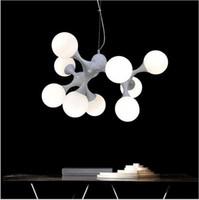 Wholesale Dna Pendant Light - DNA shape glass pendant light creative design pendant lamps for dining room living room bar E27 96-265V indoor chandelier lighting