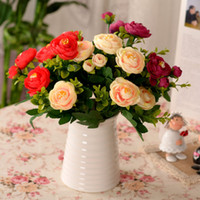 Wholesale Single Artificial Red Rose - 2016 eye-catching decorative flower rose round circle pink red rose living room balcony PU artificial flower single piece real touch flower