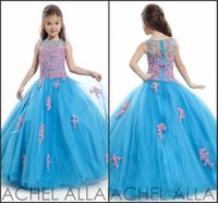 Wholesale rachel allan for sale - Rachel Allan Girls Pageant Dresses Sheer Crew Neck with Appliques Beads Princess Embroidery Child Birthday Party Ball Gowns Custom