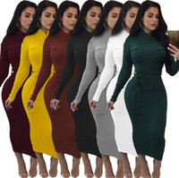 Wholesale tight stretch dresses - Women Hip Stretch Long Sleeve Turtle Neck Midi Pencil Full-Length Dress Tight Party Dresses 7 Colors OOA3099