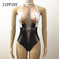 Wholesale Rhinestone Dance Costumes - Sexy Rhinestones Tie Black Bodysuit Teacher Costume Bling Stage Show Outfit Performance Jazz Dance Singer Stretch Leotard