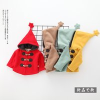 Wholesale Girls Lambs Wool Coat - Hooded thick coat for baby girl Outwear Horn buttons Big hood with star Lamb wool warm Fleece Coats Christmas 2017 Winter red
