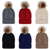 Wholesale Knit Snow Hat - Winter Brand New Colorful Snow Caps Wool Knitted Beanie Hat With Artificial Raccoon Fur Pom Poms For Women Men Hip Hop Skull Cap b277