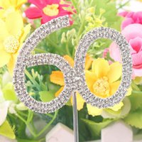 Atacado- Classic Crystal Rhinestone Cake Topper Número Idade 60th 50 21 Birthday Anniversary Cross Decoration
