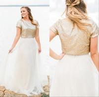 Wholesale covered bling wedding dresses - 2018 Bling Gold Sequined Wedding Dresses Vintage Two Pieces Short Sleeves Tulle Sweep Train Bridal Gowns