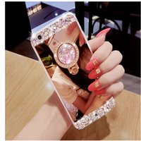 Wholesale Iphone Case Hand Holder - Luxury Hand-made Bling Diamond Crystal Holder Case With Stand Kickstand Mirror Cases Cover For iPhone 5S 6 6S 7 Plus Samsung S8 Plus S7 edge