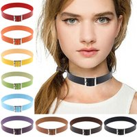 Wholesale Punk Buckle Choker - Chic Buckle Collar Necklace Punk Gothic Leather Heart Chain Spike Rivet Choker