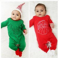 Wholesale Santa Claus Rompers - Christmas Newborn rompers Baby boys cotton mooses Santa Claus jumpsuit Toddler kids printed long sleeve rompers Infants clothing C1920