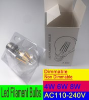 Wholesale Led Globe 6w Cool White - Vintage LED Filament Bulbs,LED E26 E27 B22 2W 4W 6W ,Warm White Cold white light bulb,Edison Classic A60 Dimmable lighting
