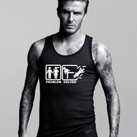 Wholesale Hot Problems - Wholesale-Stylish Design problem solved shirt Men Tank Tops Fashion Male Sports Tanks Vests and Singlets Hot Sale