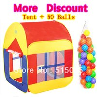 Wholesale Kids Large Indoor Tents - Wholesale-Kids gift promotion large child tent +50 ocean balls kids game house 5.5 cm wave balls indoor and outdoor play tent ZP5005