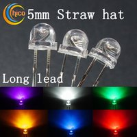 Wholesale white led 5mm straw hat resale online - 5mm straw hat led bead led diodes led chip Utra Bright F5 Long Lead Red Green Blue Yellow Orange Pink Purple White Warm