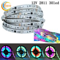 Wholesale Rgb Color Black - WS2811 Addressable Smart LED Strip Ribbon Light 5050 RGB SMD 150 Pixels Dream Color Changeable Effects Waterproof IP65 Black White PCB DC12V