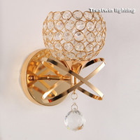 Wholesale Golden Crystal Wall Lamp - Classic Vintage Crystal wall light Bedside Silver Golden crystal Wall Lamp 110V 220V crystal wall sconce