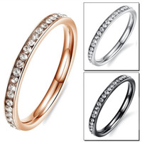 Wholesale Gold Filled Rings Prices - Fashion Women Party Rings Bands Classical Silver Black Rose Gold Plated Stainless Steel Full Crystal Jewelry Cheap Price