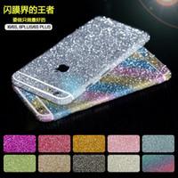 brilho bling estojo para iphone 4 venda por atacado-Luxo glitter decalque peles adesivos iphone 6 / 6s mais celular case adesivos corpo completo bling diamante de cristal para iphone 4 / 4s iphone 5 / 5s
