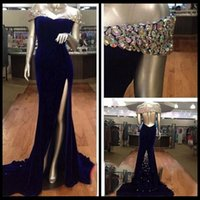 Reference Images Trumpet/Mermaid Off-Shoulder 2016 Backless Velvet Royal Blue Evening Dress for Prom Off the Shoulder High Slit Crystals Beaded Evening Gowns abito da sera