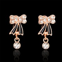 Vente en gros-H: HYDE Vintage Fashion Hoop boucles d'oreilles brinco New Jewelry Unique Bow Crystal Gold couleur petit Hoop boucles d'oreilles pour les femmes Style d'été