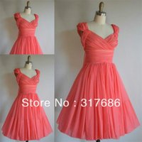 Wholesale Mini Brides Chiffon Dresses - Free shipping!Pretty a line v neck cap sleeve pleats chiffon short coral bridesmaid dresses brides maid dresses Vestidos de Noiva