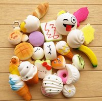 Wholesale Cell Phone Pvc Strap - Kawaii Squishies Bun Toast Donut Bread for cell phone Bag Charm Straps Wholesale mixed Rare Squishy slow rising lanyard scented 10pcs lot