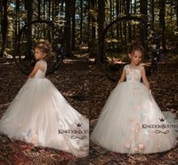 Wholesale Little Butterfly Fashion - Sheer Neck Country Fashion Flower Girls Dresses For Wedding 2018 Butterflies Lace Little Kids Sequins First Communion Dress Custom Size