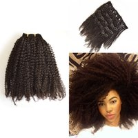 Wholesale Wholesale Virgin Brazilian 4a - Virgin 4a 4b  4c 3a 3b 3c Malaysian Clip In Human Hair Extensions Afro Kinky Curly Clip On Hair Extension G-EASY