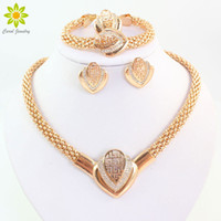 Wholesale Indian Beads Jewellery - Women Fashion Gold Plated Crystal Necklace Earring Bracelet Ring Dubai Jewelry African Beads Jewellery Costume