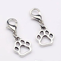 Wholesale Paw Print Beads - Hot ! 150pcs Antique Silver Zinc Alloy Paw Print Dangle Bead with Lobster clasp Fit Charm Bracelet DIY Jewelry