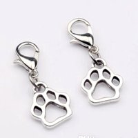 Quente! 150pcs Antique Silver Zinc Alloy Paw Print Dangle Bead com fecho de lagosta Fit Charm Bracelet DIY Jewelry